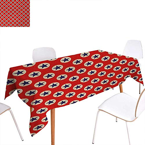 """Warm Family Primitive Country Dinning Tabletop Decoration Star Figures Big Dots Retro American Flag Inspiration Art Table Cover for Kitchen 52""""x70"""" Scarlet Navy Blue Cream"""