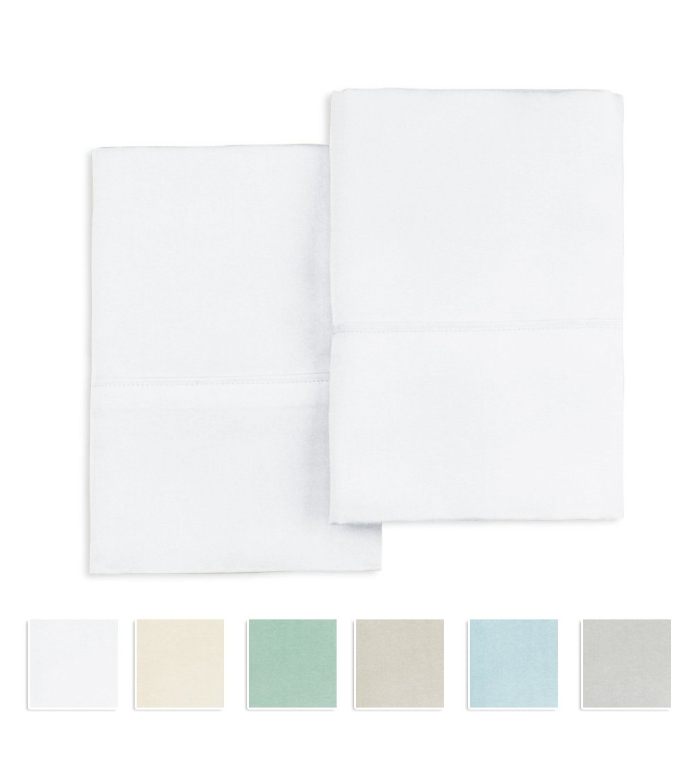 Pizuna 400 Thread Count 100% Cotton Pillow Cases, White Standard Size Pillowcases Set of 2, Long Staple Cotton, Sateen Weave with Stylish 4'' Hem (White Queen Pillow Pair)