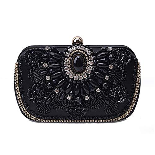 Evening Clutches Purses Satin Women Crystal Wedding Black ULKpiaoliang Rhinestones Party Bag Evening Lady Clutch Handmade Vintage Y86YwRxq