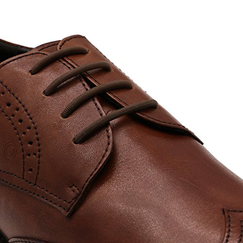 INMAKER No Tie Dress Shoe Laces for Men, Silicone Waxed Thin Oxford Round Shoe Laces (Brown) (Clearance Mens Skate Shoes)