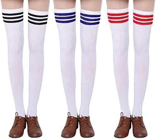 98156fa0d5f Chalier 3 Pairs Womens Long Striped Socks Over Knee Thigh High Socks  Stocking