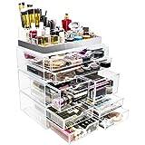 Sorbus Acrylic Cosmetic Maquillaje y joyas Almacenamiento Case Display con borde plateado - Diseño espacioso - Ideal para baño, tocador, tocador y encimera (Silver Set 2)