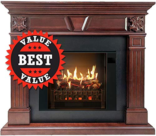 MagikFlame Electric Fireplace and Mantel - NEO Cherry Wood Electric Fireplaces with Heater - Safer,...