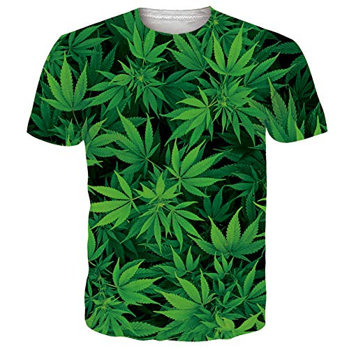 RAISEVERN Unisex Short Sleeve Green Cannabis Leaves Weeds Printed Cool Crew Neck Tropical Beach Summer T-Shirt Hawaiian Tees for Mens Womens
