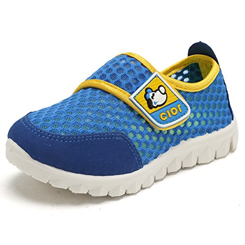 CIOR Kid's Mesh Lightweight Sneakers Baby Breathable Slip-on For Boy and Girl's Running Beach Shoes(Toddler/Little Kid),Blue03,31 0