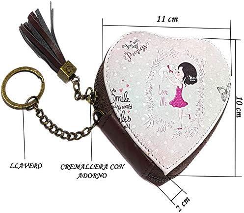 Monedero Mujer Portamonedas Cartera con Bolsillo de Cremallera y Llavero para Monedas Dinero Auriculares Estilo Vintage Motivo Diseño Chica Regalo un ...