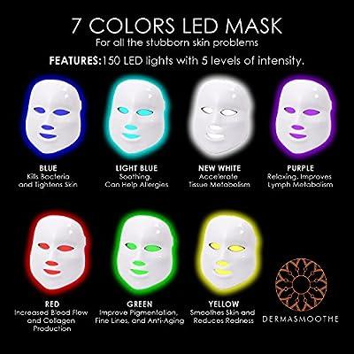 Dermasmoothe Pro 7 Color LED Face Mask | Photon Red Light Therapy For Healthy Skin Rejuvenation | Collagen, Anti Aging, Wrinkles, Scarring | Korean Skin Care, Facial Skin Care Mask