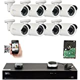 GW Security 8 Channel 5MP NVR 1920P IP Camera Network POE Video Security System - Eight 5.0 Megapixel (2592 x 1920) Weatherproof Bullet Cameras, Quick QR Code Easy Setup, Pre-installed 2TB Hard Drive