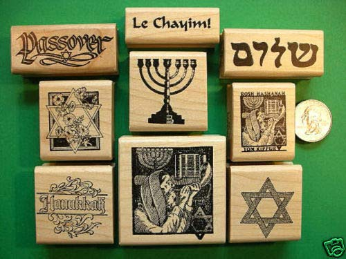 Judaica Rubber Stamps, Nine Wood Mounted - Rubber Stamp Wood Carving Blocks by Wooden Stamps