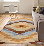 Carly Tribal Medallion Blue 5x7 ( 5' x 7' ) Southwestern Transitional Casual Classic Thin Value Area Rug Perfect for Living Room Dining Room Family Room