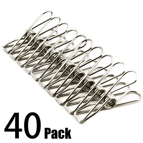 clothes pins 40 pack,2 inch multi-purpose stainless steel wire,cord clothes pins utility clips,hooks for home/office