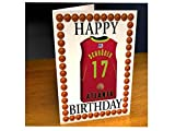 NBA BASKETBALL JERSEY THEMED MAGNET BIRTHDAY CARDS - PERSONALISED BIRTHDAY CARD - ANY NAME, ANY NUMBER, ANY TEAM !!!