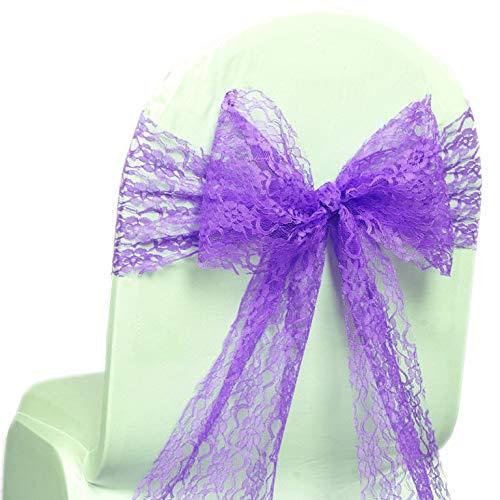 MDSパック100レースの弓レース椅子サッシ 希望者のみラッピング無料 bowsサッシの結婚やイベント行事に飾りパーティー用品レース椅子サッシ 100 パープル おすすめ 100_lace ラベンダー B072HC5WG4 bow_ sash lavender