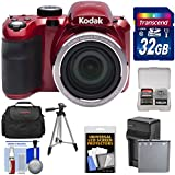 Kodak PIXPRO AZ421 Astro Zoom Digital Camera (Red) 32GB Card + Case + Battery/Charger + Tripod + Kit