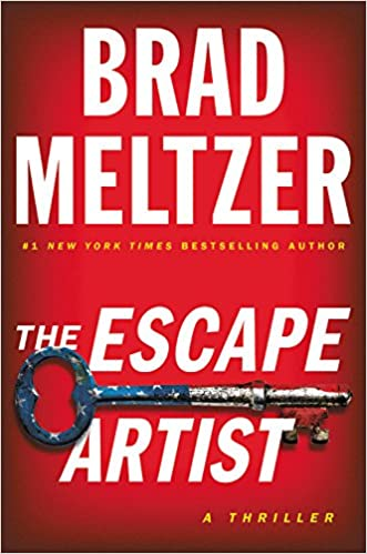 Collection sample book cover The Escape Artist, a American-flag printed key on a red background