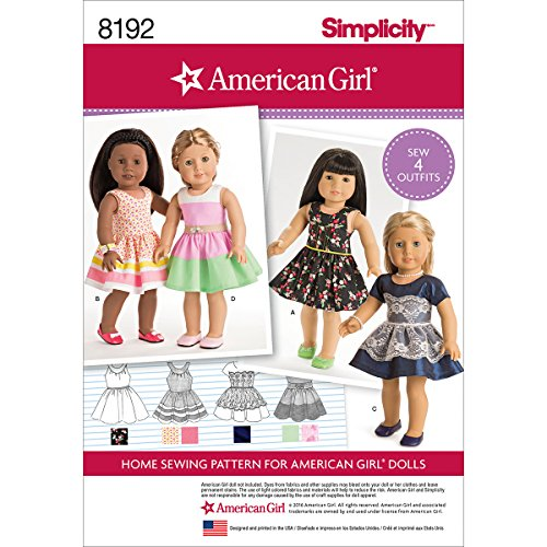 Simplicity 8192 American Girl 18'' Doll Sundress Clothing Sewing Patterns