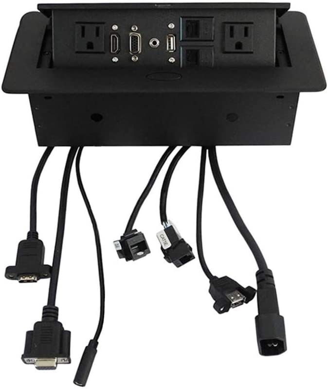 Zeshan Pop up Outlet Desktop Connection Box with 2 Independent Power, USB, RJ45, VGA, HDMI, 3.5 mm Audio for Office Black