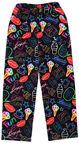 iscream Big Girls Fun Print Silky Soft Plush Pants - Neon Nights, Small by iscream