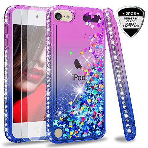 od Touch 5 Case with Tempered Glass Screen Protector [2 Pack] for Girls Women,LeYi Glitter Liquid Clear TPU Phone Case for Apple iPod Touch 6th / 5th Gen Gradient Purple/Blue ()