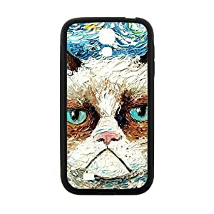 Cool painting Aggrieved White cat Cell Phone Case for Samsung Galaxy S4
