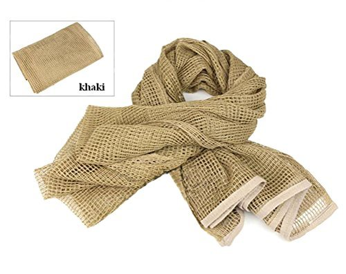 Tactical Mesh Net Camo Scarf For Wargame,Sports & Other Outdoor Activities (Khaki)