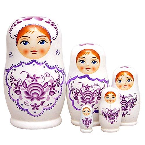 Set of 5 Cutie Lovely Purple Flower Wooden Nesting Dolls Matryoshka Russian Doll Popular Handmade Kids Girl Birthday Christmas Gifts Toy