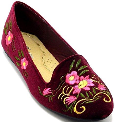 Senaste Design Womens Fashion Broderade Balett Ballerina Loafers Platt Dans Dolly Skor Vinrött