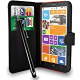 Nokia Lumia 1320 Black Leather Wallet Flip Case Cover Pouch + Free Screen Protector & Touch Stylus Pen + Polishing Cloth