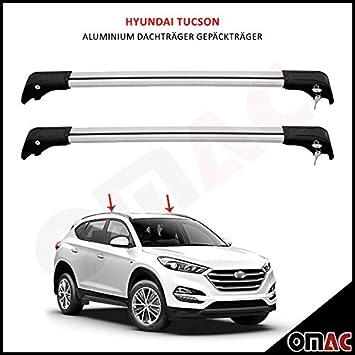 Baca portaequipajes para Hyundai Tucson, gama desde 2015, de aluminio, color gris V2: Amazon.es: Coche y moto