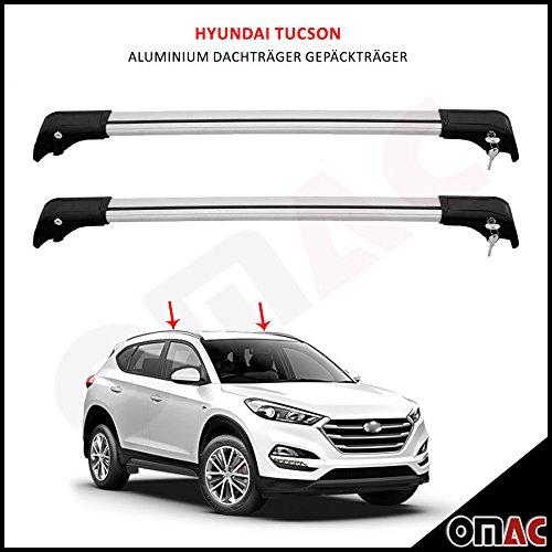 Portapacchi in alluminio per Hyundai Tucson (modelli dal 2015), grigio, aerodinamico, chiave V2 OMAC