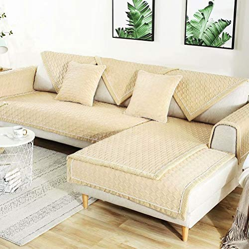 Deep Dream Sectional Sofa Covers, Velvet Sofa Slipcover Furniture Protector Anti-Slip Couch Covers for Dogs Cats Kids 36 x 82 Inch - Beige (Sold by Piece/Not All Set) (L Leather Sofa Shaped Sale)