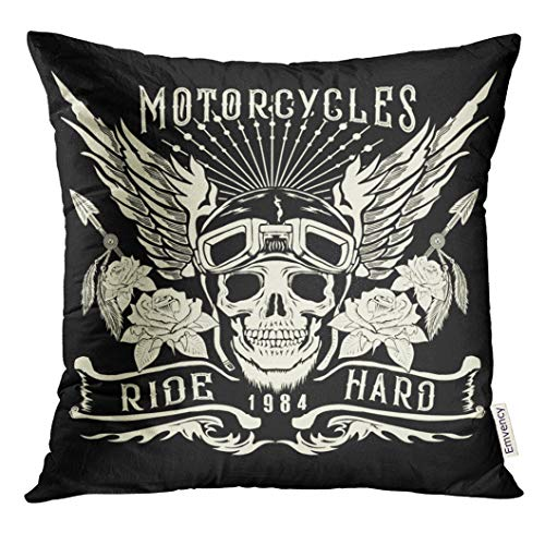 over White Rider Motorcycle Skull with Helmet Wings Tattoo Design and Patch Biker Decorative Pillow Case Home Decor Square 20x20 Inches Pillowcase ()