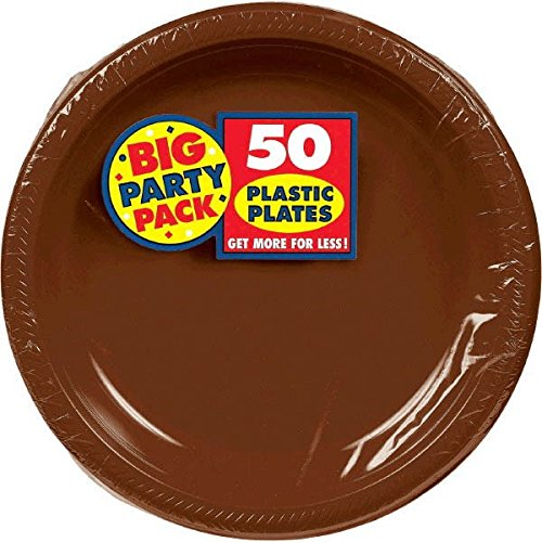 Amscan Big Party Pack 50 Count Plastic Lunch Plates, 10.5-Inch, Chocolate Brown (Chocolate Plate)