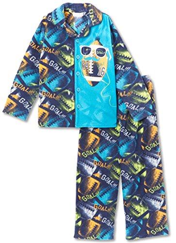 Pjs Football - Komar Kids Boys Super Bowl Football 2 Piece Button Down Pajama Coat Set, Size M(8)