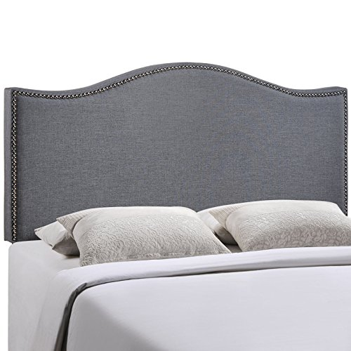 Modway Curl Upholstered Linen Headboard Queen Size With Nailhead Trim and Curved Shape In Smoke by Modway