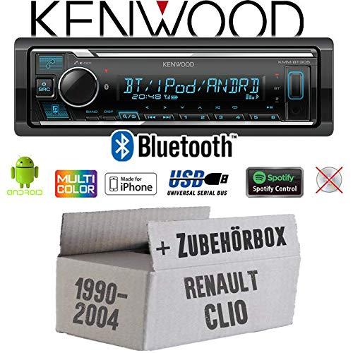 Einbauset f/ür Renault Clio 1 +2 Einbauzubeh/ör iPhone Spotify MP3 Autoradio Radio Kenwood KMM-BT305 Bluetooth USB JUST SOUND best choice for caraudio Android