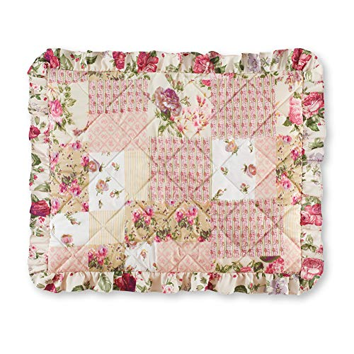 - Collections Etc Light Pink Rose Garden Quilt-Style Ruffled Pillow Sham - Seasonal Décor for Bedroom, Taupe, Sham