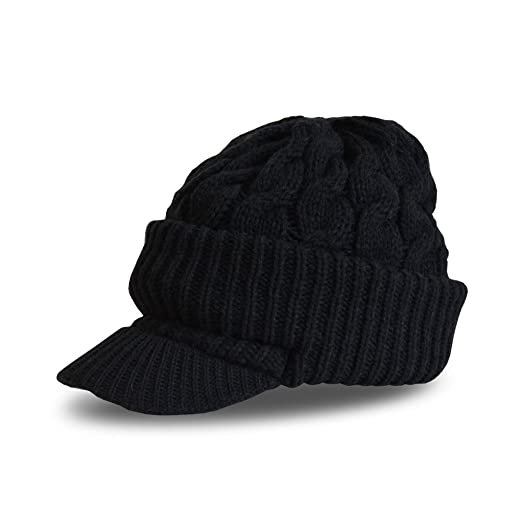c8b22a90e16 Newsboy Jeep knitted hat with short cute trendy visor winter warm for women  (One Size