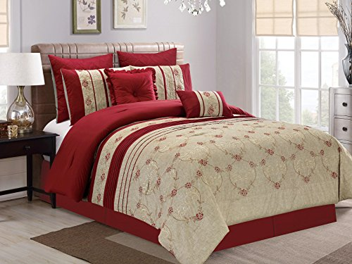 7-Pc Floral Vine Scroll Embroidery Pleated Comforter Set Burgundy Red Antique Beige King (Red Floral Scroll)