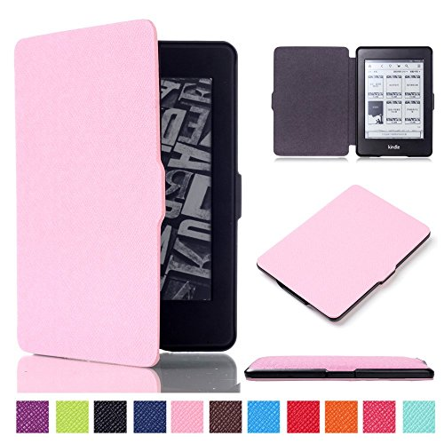 DHZ Case For Kindle Paperwhite - The Lightest Pu Leather Cover for All-New Amazon Kindle Paperwhite (Fits All versions: 2012,2013,2014,and 2015,2016 New 300 PPI) Pink by DHZ