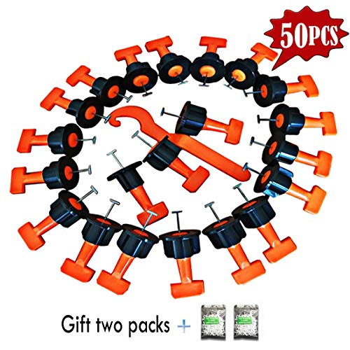 XJunion 50pcs Tiles Leveler Spacers Tile Leveling System with Special Wrench Reusable Spacer Flooring Level Tile levellers Set System Construction for Builing Walls & Floors - 2 packs cross cards