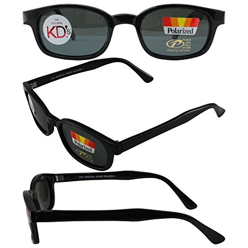 The Original X-KD's Biker Shades By PCSUN 20% Larger Black Frames Polarized Grey - Shades Biker