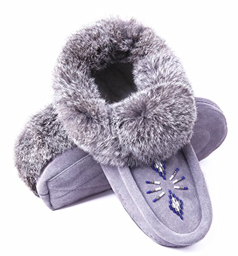 Women Moccasin Slippers Indoor,Leather Suede,Soft Sole,Fleece,Rabbit Fur,Slip On House Shoes,Grey 7 B(M) US