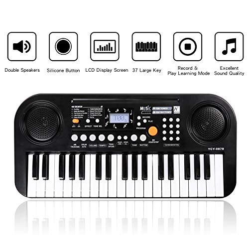 M SANMERSEN Kids Piano Keyboard, New Electric Keyboard Piano with Double Speakers LCD Display Piano Score Musical Keyboard Educational Toys for Boys Girls