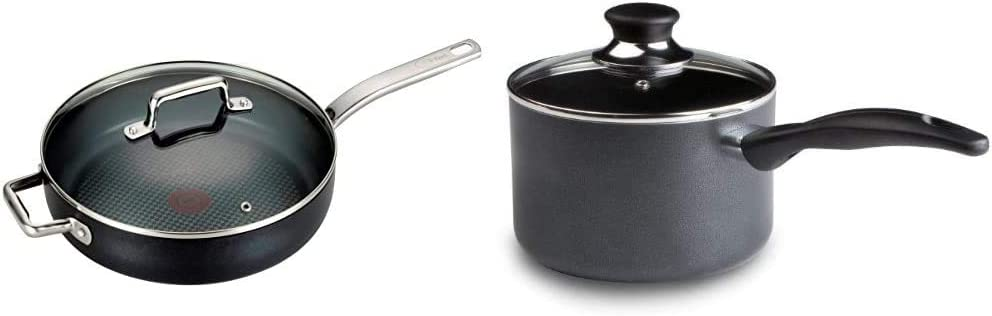 T-fal C51782 ProGrade Titanium Nonstick Thermo-Spot Dishwasher Safe PFOA Free with Induction Base Saute Pan Jumbo Cooker Cookware, 5-Quart, Black & Specialty 3 Quart Handy Pot w/ Glass Lid