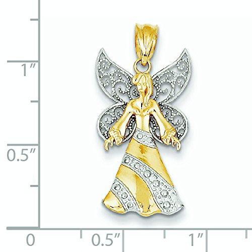 Jaune or blanc 14 carats et Rhodium avec pendentif Fée clochette-JewelryWeb