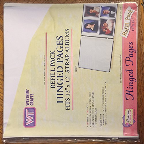 Westrim Strap Hinge Refill Pages 12-Inch by 12-Inch, White, 10/Pkg (Westrim Scrapbooking Pages)