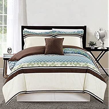 4 Piece Cal King Blue/Green Print Comforter Set
