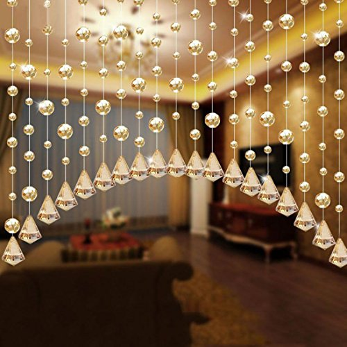 1Set Luxury Crystal Glass And Stainless Steel Wire Beads Door String Tassel Curtain Wedding Divider Panel Room Home Decor 1 M By Woaills (Gold)