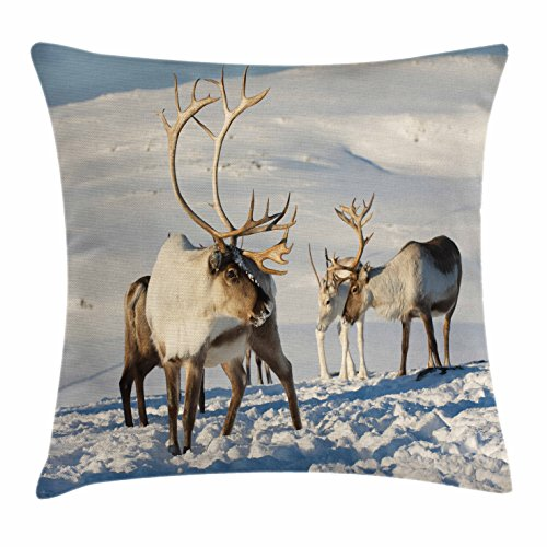 Ambesonne Winter Throw Pillow Cushion Cover, Reindeers in Natural Environment Tromso Northern Norway Caribou Antler Wildlife, Decorative Square Accent Pillow Case, 18 X 18 - Caribou Antlers